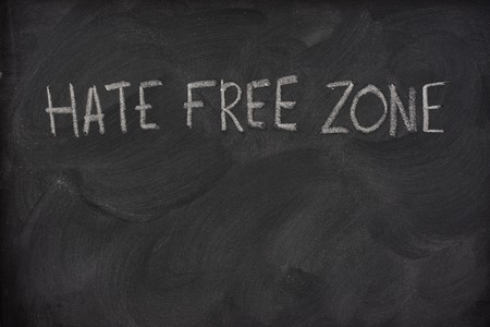 smudge: hate free zone text handwritten with white chalk on a school blackboard with strong eraser smudge patterns, copy space