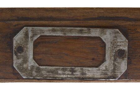 vintage label holder on front of flat, wooden drawer )old typesetter case) Stock Photo - 4459660
