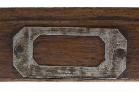 typesetter: vintage label holder on front of flat, wooden drawer )old typesetter case)