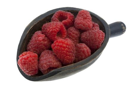 fresh red raspberries on a rustic wooden scoop isolated on white Stock Photo - 4491431
