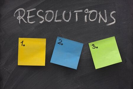 list of resolutions on blackboard with three blank, numbered sticky notes Stock Photo - 4533056