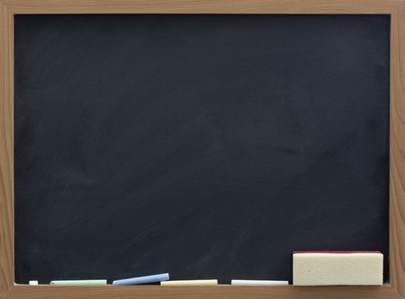 blank chalkboard: blank blackboard with eraser and chalk, smudge patterns,  white dust