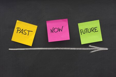 future space: time concept - past, present, future - colorful sticky notes on blackboard with white chalk arrow and eraser smudges Stock Photo