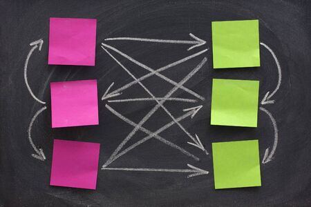 smudge: network or web concept represented on blackboard with white chalk and blank color sticky notes, eraser smudge patterns  Stock Photo