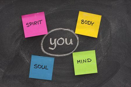 mind body soul: voi, corpo, mente, anima, spirito - la crescita personale o concetto di sviluppo delineato con gesso bianco e le note appiccicose sulla lavagna con gomma sbavature