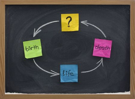 birth, life, death cycle or reincarnation concept presented with colorful sticky notesand white chalk on blackboard Stock Photo