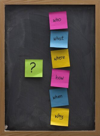 problem: brainstorming concept with simple questions (what, when, where, why, how, who)  posted with colorful sticky notes on blackboard with white chalk smudges Stock Photo