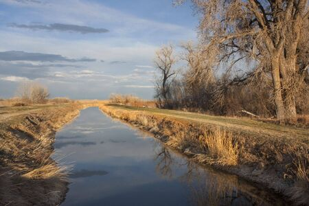 irrigation channel in eastern Colorado farmland, early spring