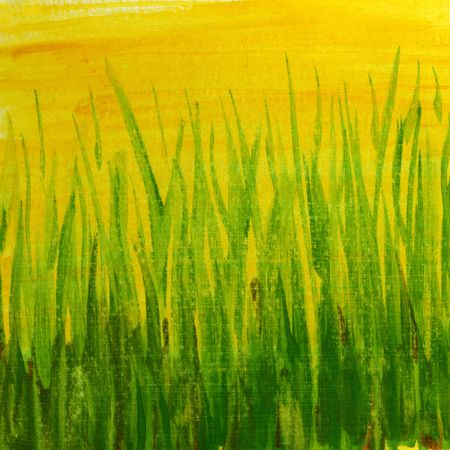 scratches: springtime green grass abstract - hand painted watercolor background witch scratch texture, self made Stock Photo