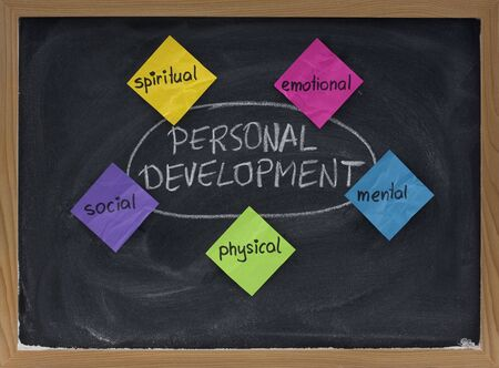 5 dimensiones del desarrollo personal: espiritual, emocional, mental, físico, social - concepto de pizarra presenta con las notas adhesivas de color blanco y la tiza Foto de archivo - 4948073