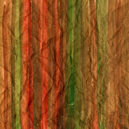 red brown and green watercolor background painted on crumpled printing paper with vertical brush strokes, rough texture, self made Stock Photo - 4966572