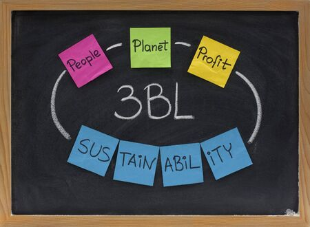 the triple bottom line (3BL or TBL) concept - people, planet, profit (social, ecological, economic) taken into account for sustainable development, presented on blackboard with colorful sticky notes and white chalk