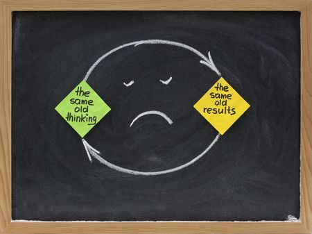 negative: the same old thinking and disappointing results, closed loop or negative feedback mindset concept presented on blackboard with colorful sticky notes, white chalk