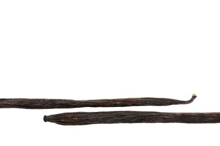 macro of two vanilla pods composed as a lower border, isolated on white Stock Photo - 5041787