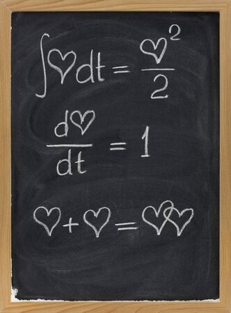 calculus formulas with a heart as argument sketched with white chalk on blackboard with eraser smudges Stock Photo - 5058451