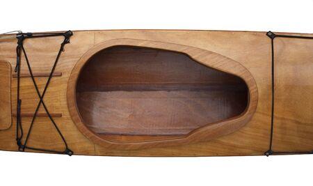 keyhole shape cockpit and deck of homebuilt wooden sea kayak, stitch-and-glue method using okoume (plantation mahogany) plywood Stock Photo - 5200532