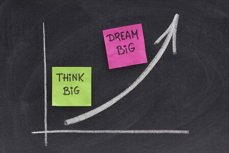 think big, dream big slogan concept presented with growing graph on blackboard, eraser smudges photo