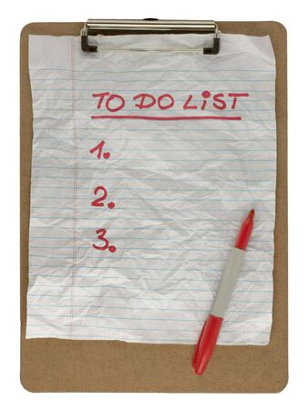 blank numbered to do list - crumpled paper on clip board, red pen Stock Photo - 5380637