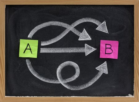 multiple ways for going from A to B, reaching destination or solution, alternatives - concept presented with sticky notes, white chalk on blackboard