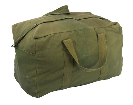 fully loaded army style green canvas duffel bag, fabric is scratched, stained and faded, isolated on white