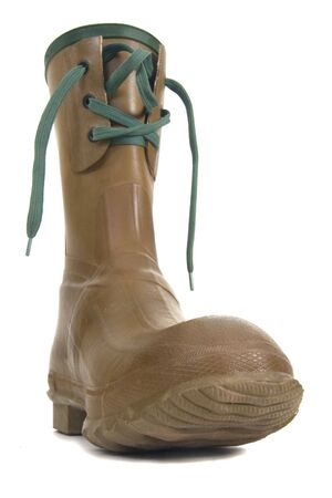 heavy rubber boot with laces on white background, distorted low wide angle perspective