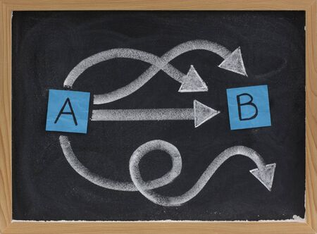 successful and unsuccessful choices, pathways or solutions concept presented with sticky notes, white chalk on blackboard