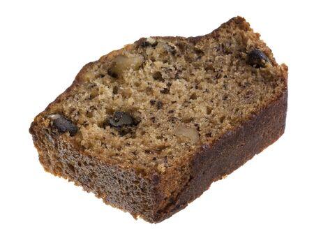 slice of fresh banana bread with walnuts isolated on white Stock Photo - 5545668