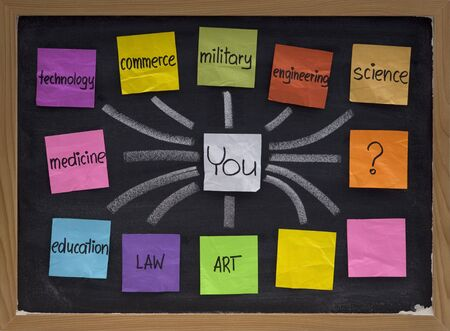 career choices, decisions and questions, concept presented on blackboard with color sticky notes and white chalk Stock Photo - 5666112
