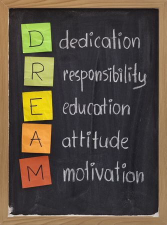 responsabilidad: dedicaci�n, responsabilidad, educaci�n, actitud, la motivaci�n - siglas DREAM se explica en la pizarra con las notas adhesivas de color tiza blanca y de escritura a mano Foto de archivo