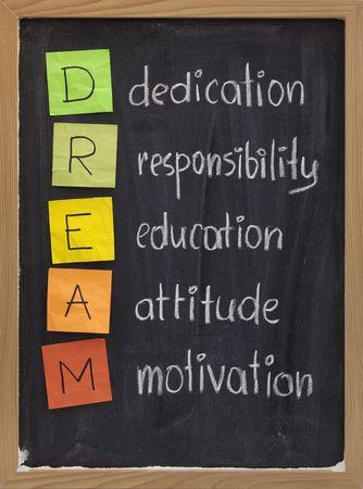 Engagement, Verantwortung, Ausbildung, Einstellung, Motivation - DREAM Abkürzung erklärt auf Tafel mit Farbe Haftnotizen und weiße Kreide Handschrift