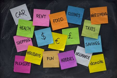 word cloud related to household finance and expenses, color sticky notes on blackboard with white chalk texture photo