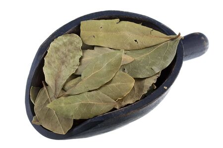 dried bay laurel leaves on a rustic wooden scoop isolated on white Stock Photo - 5668584