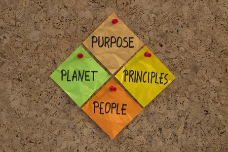 P4 (PPPP) - Purpose, People, Planet, Principles. Four cornerstones of sustainable success and a maxim for modern management and organizational philosophy, presented with color sticky notes on cork bulletin board. Stock Photo - 5668586