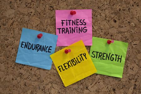 endurance, flexibility, strangth - fitness training goals concept, color sticky notes on cork bulleting board Stock Photo - 5699090