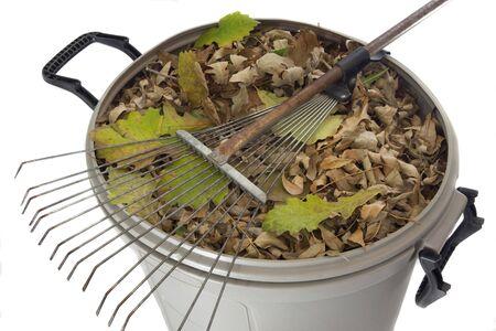 garbage bin: Rake vieja y oxidada y hojas secas en el cubo de basura de pl�stico aislado en blanco - patio concepto ca�da trabajo Foto de archivo
