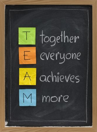 achieves: TEAM acronym (together everyone achieves more), teamwork motivation concept Stock Photo
