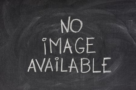 internet browser error message, no image available, handwritten with white chalk on blackboard with eraser smudges Stock Photo