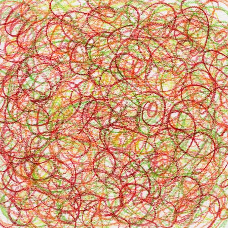 hand-drawn crayon circular scribble background in red, green and orange colors Stock Photo - 5751087
