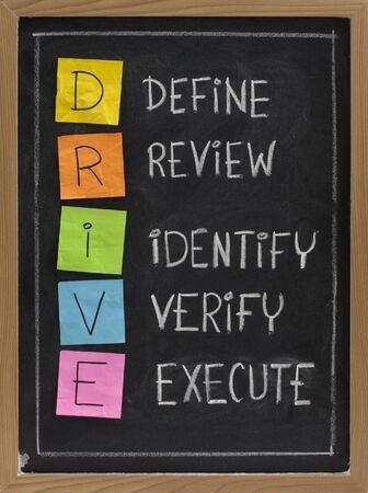 verify: DRIVE (Define, Review, identificare, verificare, Execute) - acronimo usato nella gestione della qualit�, il colore e la scrittura a mano le note appiccicose gesso bianco sulla lavagna