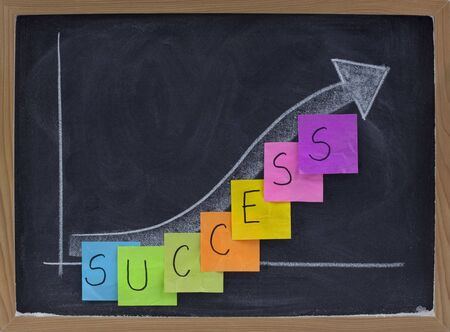 progress: success, progress, growth concept on blackboard, white chalk drawing and color sticky notes Stock Photo