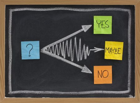 maybe: yes, no, maybe - hesitation or undecided concept, color sticky notes and white chalk drawing on blackboard