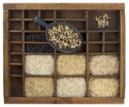 variety of rice grains (white, brown, black, forbidden, wild, basmati, arborio, short, long grain) in vintage wooden typesetter case with rustic scoop isolated with clipping path Stock Photo - 5844734