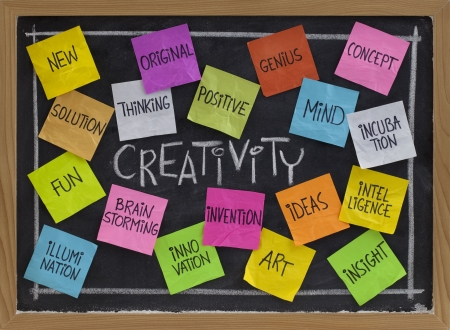 creativity concept - related cloud of words, color sticky notes and white chalk handwriting on blackboard