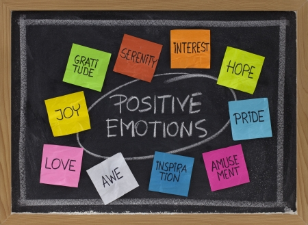 concept of positive emotions - color sticky notes and white chalk handwriting on blackboard 版權商用圖片