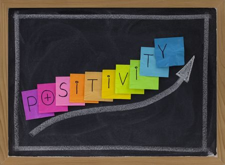 positivity: positivity concept on blackboard - color sticky notes and white chalk drawing