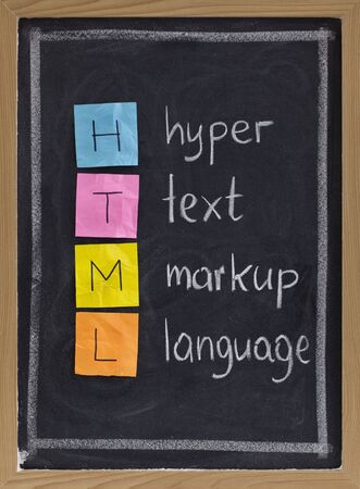 html (hyper text markup language) acronym explained on blackboard, color sticky notes and white chalk handwriting Stock Photo - 5935851