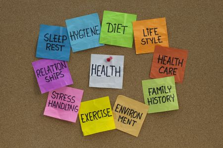 health concept - word cloud or circle of contributing factors (diet, lifestyle, healtcare, family history, environment, exercise, stress, relationships, sleep, rest, hygiene), colorful sticky notes on cork bulletin board Banque d'images