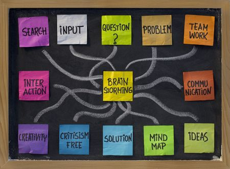 brainstorming concept - related word cloud, color sticky notes and white chalk lines on blackboard Stock fotó - 5960338
