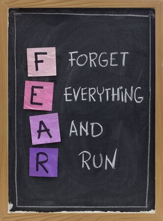run down: forget everything and run - FEAR acronym, shutting down or panic response concept, white chalk handwriting and sticky notes on blackboard Stock Photo