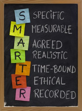 setting goals: SMARTER (specific, measurable, agreed, realistic, time-bound, ethical, recorded) - acronym for goal setting approach, white chalk handwriting, colorful sticky notes on blackboard